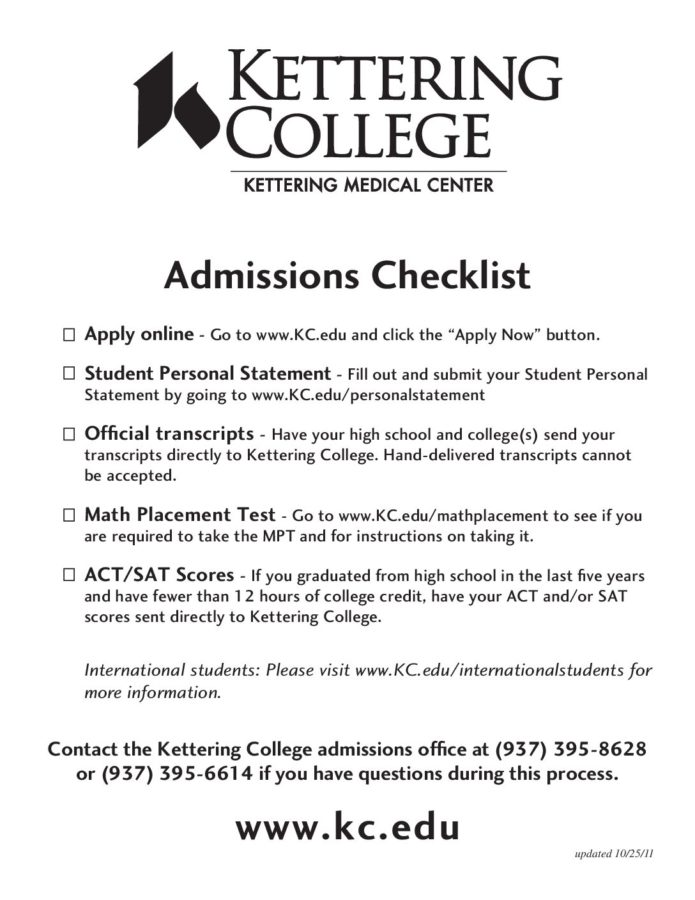 photograph relating to Printable College Application Checklist named Click on in this article for a printable variation of the Kettering School