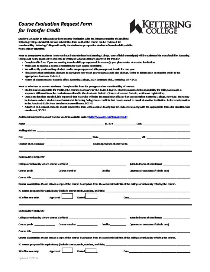 Download a PDF version of the course evaluation request form