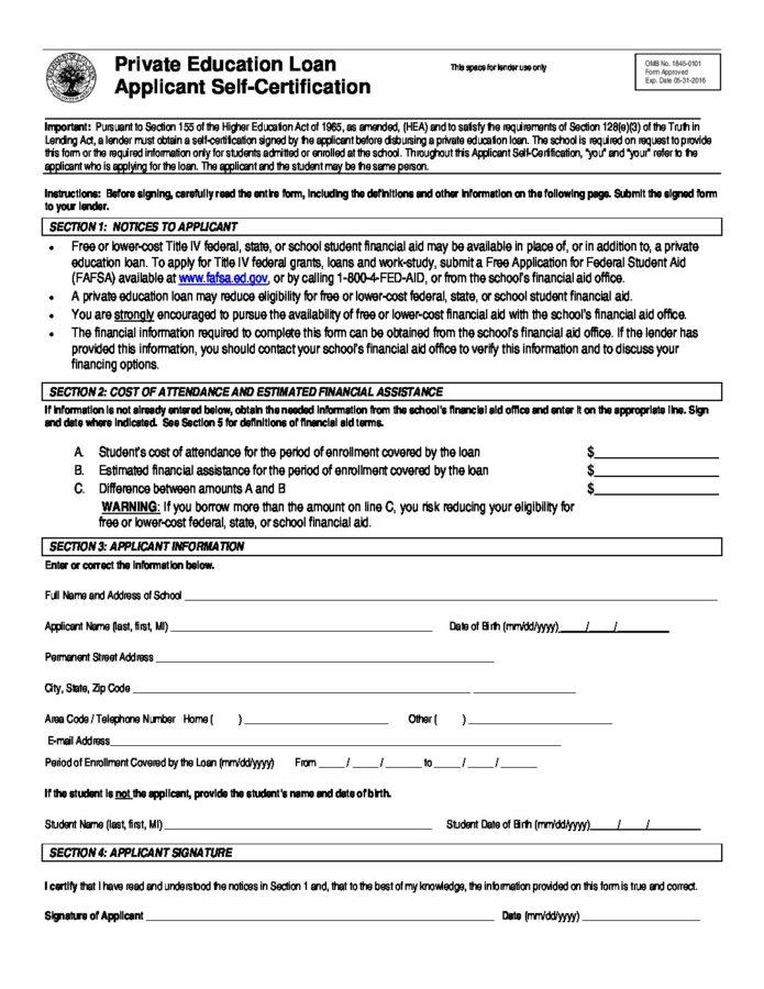 Private Ed Loan App Self-Cert form - Kettering College
