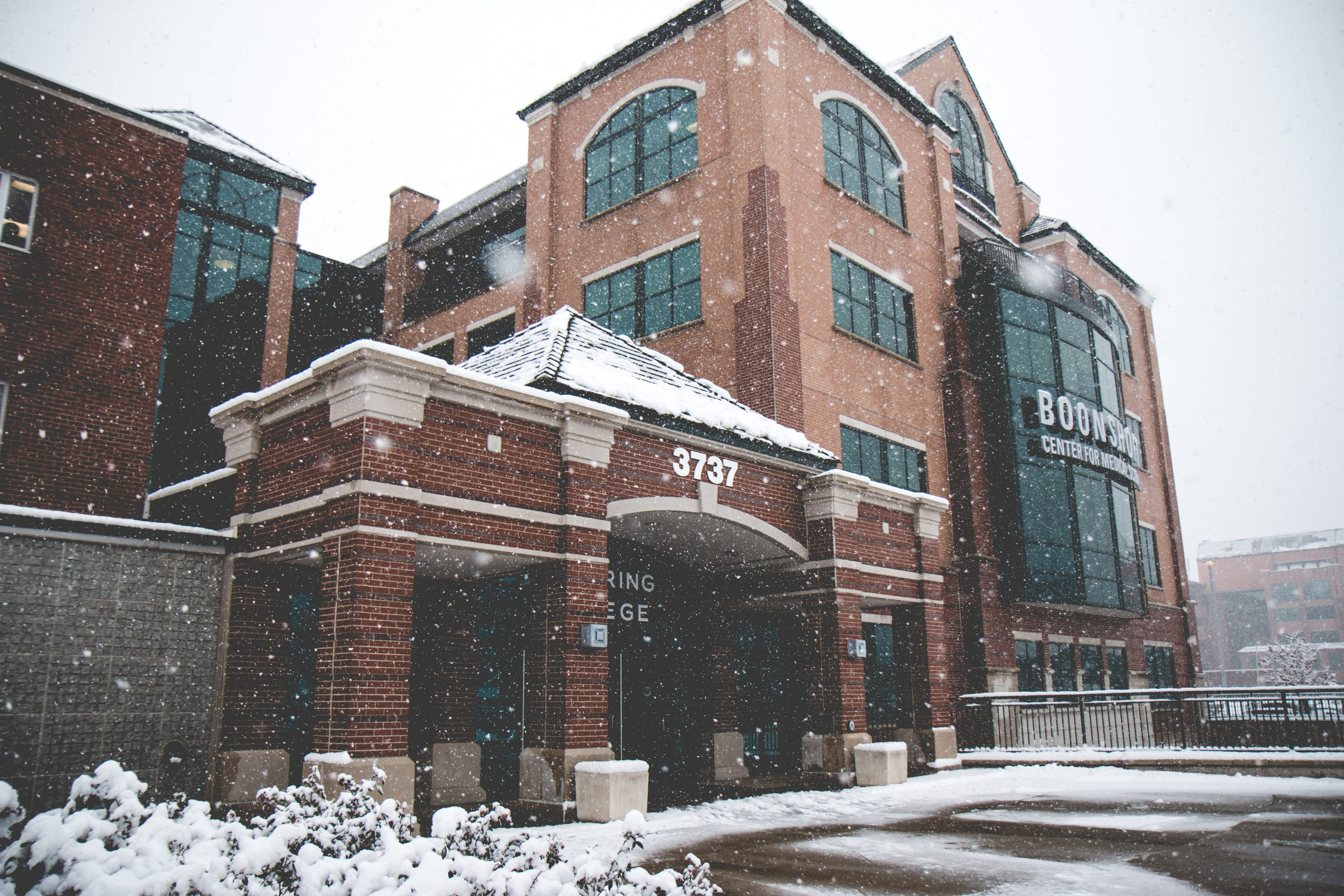a winter semester at Kettering College with snow at campus