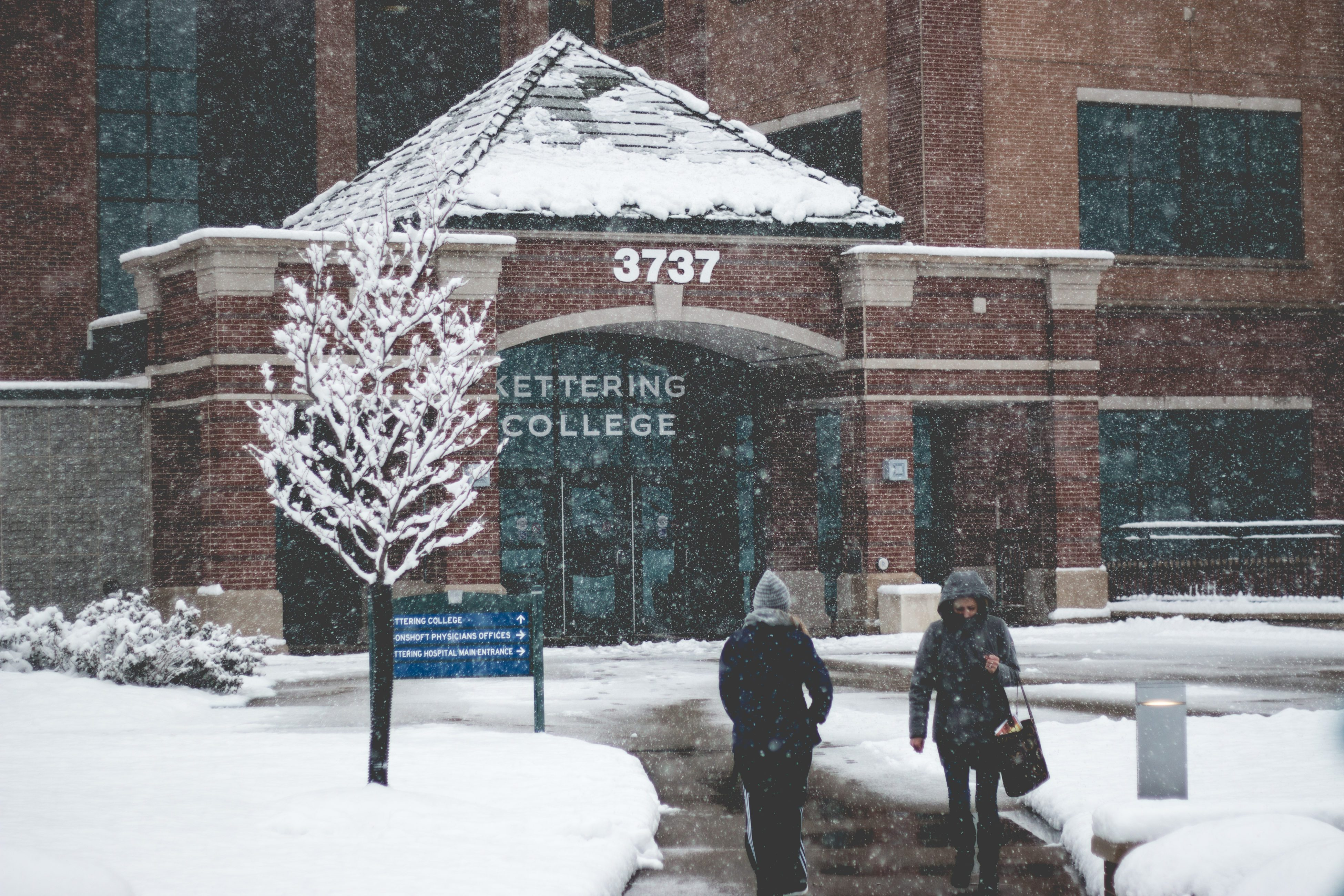 Kettering College in the snow