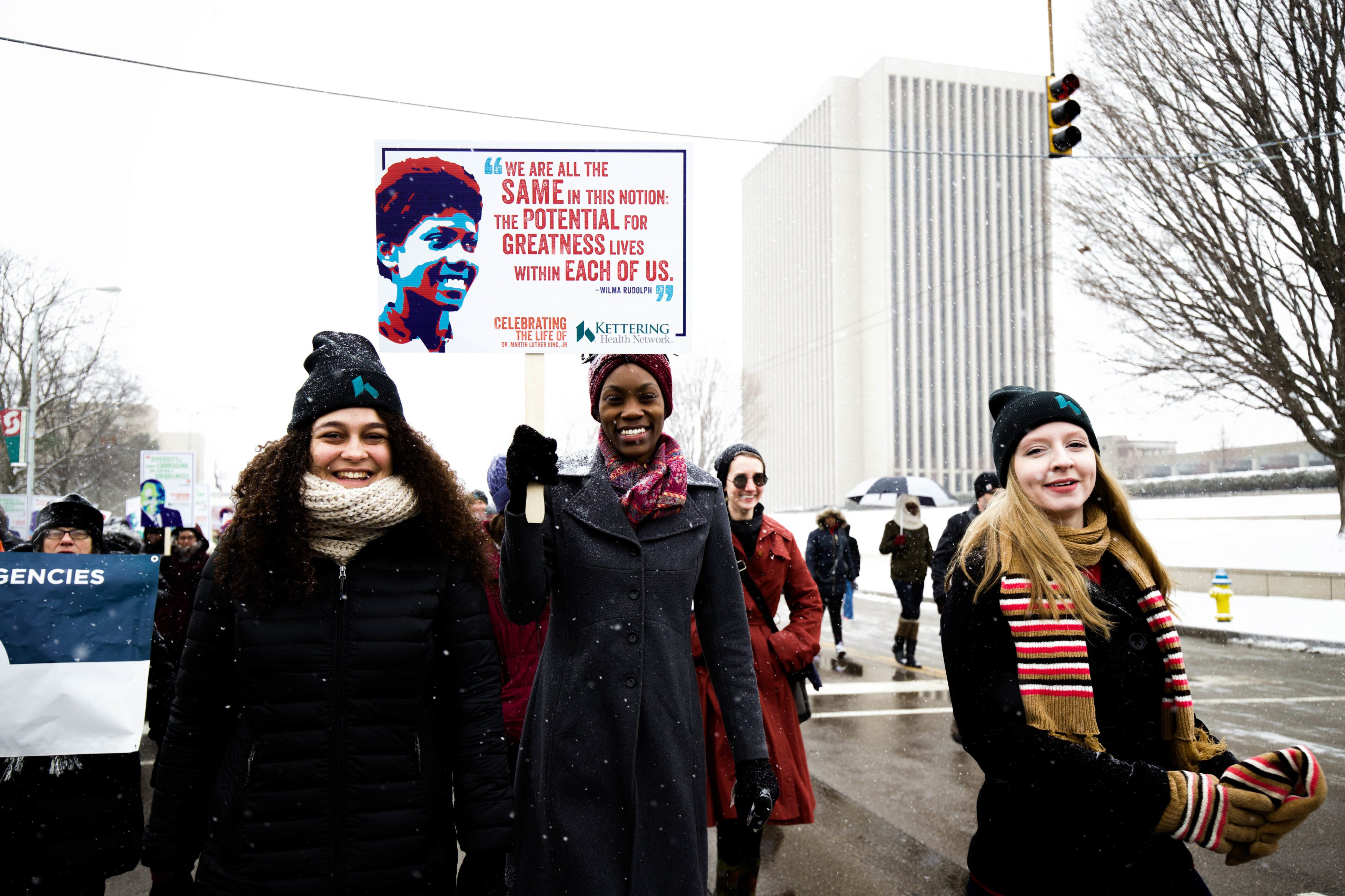 Kettering College students participate in the annual Martin Luther King Jr. March in downtown Dayton.