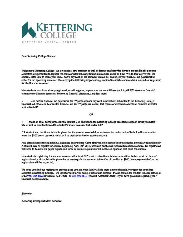 Reg Clearance Letter Kettering College
